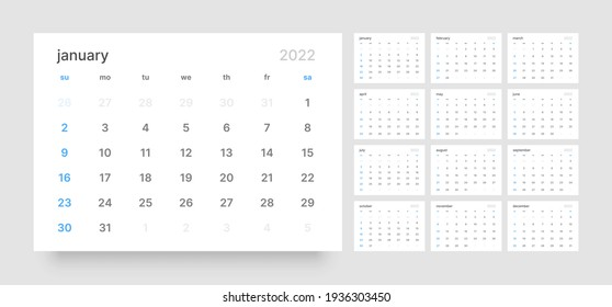 Calendar template for 2022 with week start on Sunday.