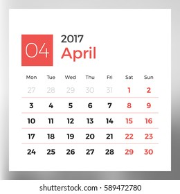 Calendar Template for April 2017. Week Starts Monday. Design Print Template. Vector Illustration Isolated