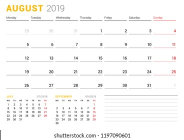Calendar template for August 2019. Business planner. Stationery design. Week starts on Monday. 2 Months on the page. Vector illustration