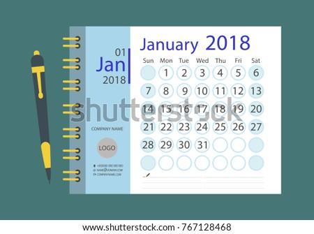 Calendar Template January 2018 Week Starts Stock Vector Royalty