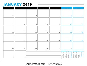 Calendar Template for January 2019. Business Planner Template. Stationery Design. Week starts on Monday. 3 Months on the Page. Vector Illustration