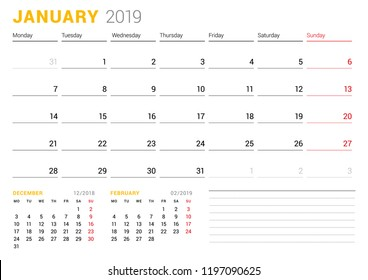 Calendar template for January 2019. Business planner. Stationery design. Week starts on Monday. 2 Months on the page. Vector illustration