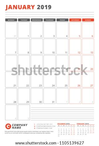 Calendar Template January 2019 Business Planner Stock Vector