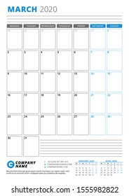 Calendar template for March 2020. Business planner. Stationery design. Week starts on Monday. Portrait orientation. Vector illustration