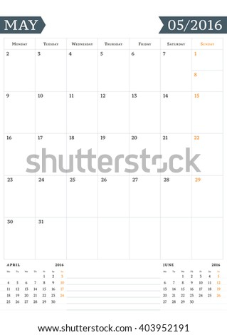 calendar template for may 2016 week starts monday planner design print template vector