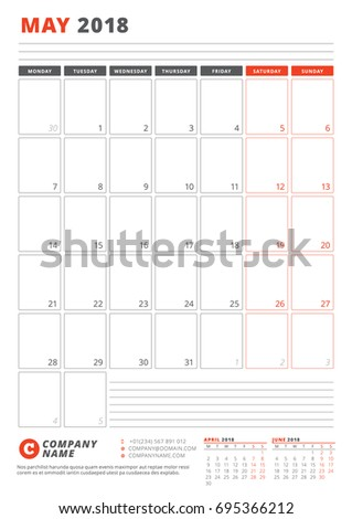 Calendar Template May 2018 Business Planner Stock Vector Royalty