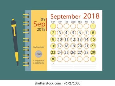Calendar template for September 2018, week starts on Sunday.  Vector illustration calendar in a flat style, day, month.