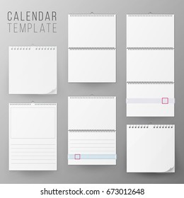 Calendar Template Set Vector. Realistic Calendar Blank Hanging On A Wall. Blank Office Calendar Mock Up. Realistic Sheets Of Paper. Empty Mock Up. Vector illustration