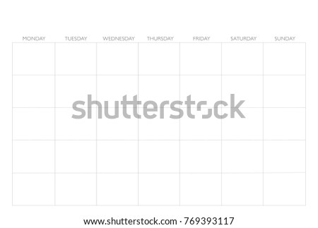 Calendar Template Starts Monday Empty Simple Stock Vector Royalty