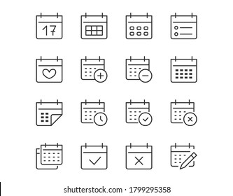 Calendar Thin Line Icon. Minimal Vector Illustration. Included Simple Outline Icons as Schedule, Reminder, Appointment, Planner, Event Time. Editable Stroke