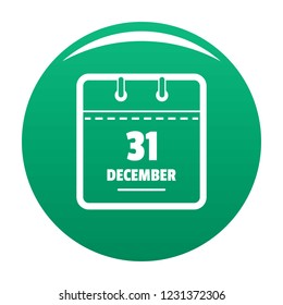 Calendar thirty first december icon. Simple illustration of calendar thirty first december vector icon for any design green