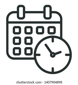 calendar time - minimal line web icon. simple vector illustration. concept for infographic, website or app.