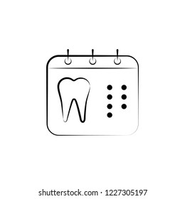 calendar, tooth icon. Element of dantist for mobile concept and web apps illustration. Hand drawn icon for website design and development, app development