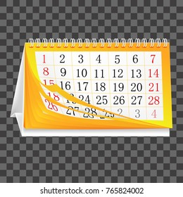 Calendar with turning pages with months and dates, vector illustration.
