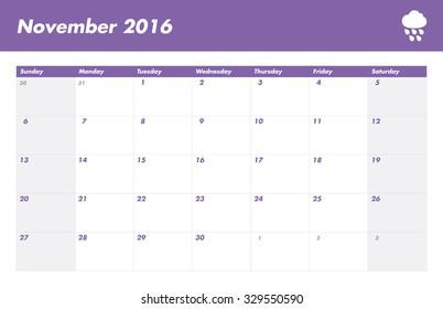 Calendar US 2016