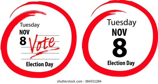 Calendar US General Election Day Circled November 8 2016- 2 styles of image