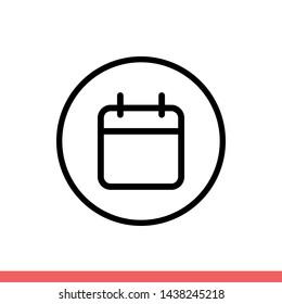 Calendar vector icon, date symbol. Simple, flat design for web or mobile app