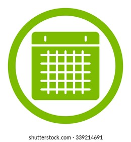 Calendar vector icon. Style is flat rounded symbol, eco green color, rounded angles, white background.