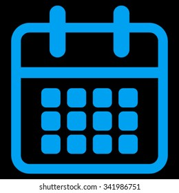 Calendar vector icon. Style is flat symbol, blue color, rounded angles, black background.