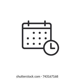 Calendar vector icon.  Calendar symbol. Time management. Calendar days. Holidays icon. Tear-off calendar. Working day. Weekend. Solemn date. Vacation sign. Clock sign. Task Manager. Deadline icon.