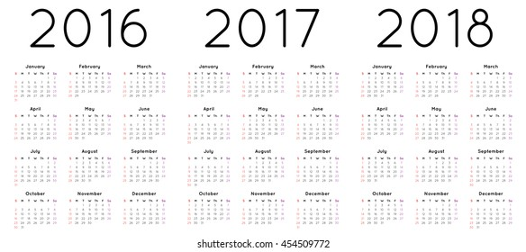 Calendar vector for the year 2016, 2017 and 2018.