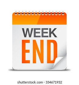 Calendar with week end text on white background