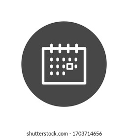 Calendar white colored vector line icon with dark background