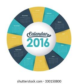 calendar year 2016 design, vector illustration eps10 graphic