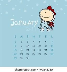 Calendar for the year 2017 - January