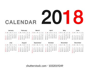Calendar year 2018 horizontal vector design template, simple and clean design. Calendar for 2018 on White Background for organization and business. Week Starts Sunday. Simple Vector Template EPS 10.