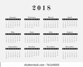 Calendar for year 2018 vector illustration magazine design