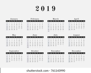 calendar for year 2019 vector illustration magazine design