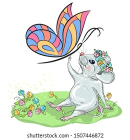 Calendar for the year 2020 Rats, suitable for the month of may, June, July, Zodiac sign, Horoscope. Picture of a white mouse with a butterfly. Decorative card-happy new year and merry Christmas.