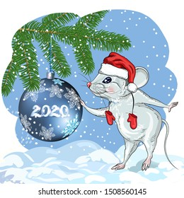 Calendar for the year 2020 Rats, suitable for the month of December, January, Zodiac sign, Horoscope, greeting card-happy new year and merry Christmas. Picture of a white mouse with a spruce branch