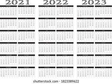 Calendar year 2021 2022 2023