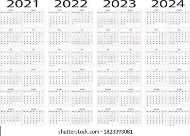 Calendar year 2021 2022 2023 2024