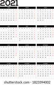 Calendar year 2021 vector design