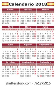 Calendario 2018 vertical spanish calendar with festive days. pocket calendar, calendario de bolsillo, Week starts on monday.