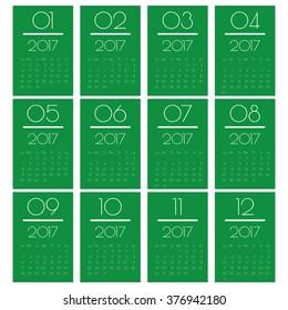 Calender 2017 Minimal Design. Calendar for 2016.Week starts from sunday. Vector illustration.