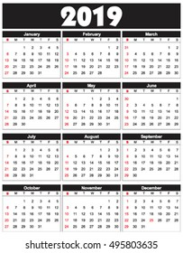 Calender 2019 in vector can be converted into any size for printing without losing resolution.