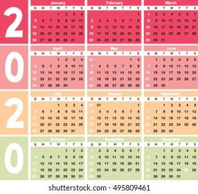Gregorian Hijri Calendar For 2020 Times Tables Chart Beach Background Illustration Stock Vector