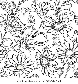 calendula seamless pattern