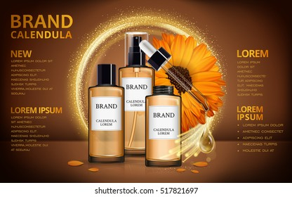 Calendula skin toner ads, 3d illustration cosmetic ads design with realistic design and sparkling effects