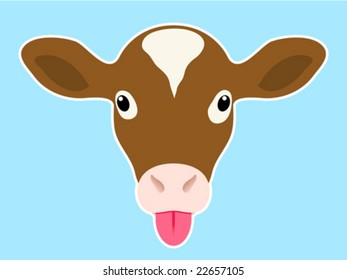 Calf head sticking out tongue - vector