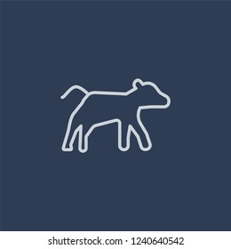 Calf icon. Trendy flat vector line Calf icon on dark blue background from animals  collection.