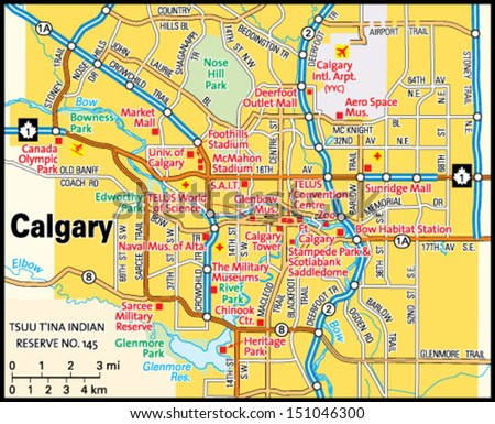 Calgary Alberta Area Map Stock Vector Royalty Free 151046300