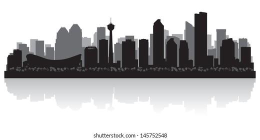 Calgary Canada city skyline silhouette vector illustration