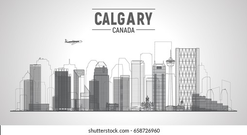 Calgary, Canada line skyline with panorama in white background. Vector Illustration. Business travel and tourism concept with modern buildings. Image for presentation, banner, web site.