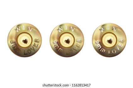 Caliber of weapon bullets icon. Lover weapons 9 mm. The rim and primer mall-arms cartridges, base cartridge. Caliber of weapon bullets icon flat. Heart firing pin weapon. Vector illustration.