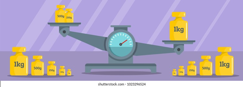 Calibration weight banner. Flat illustration of calibration weight vector banner for web